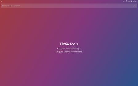 Firefox Focus pour Android 2.0 sur tablette