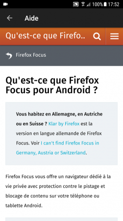 Firefox Focus pour Android : aide
