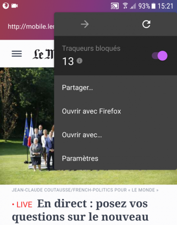 Firefox Focus pour Android : menu des pages web