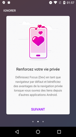 Firefox Focus pour Android : tour 2