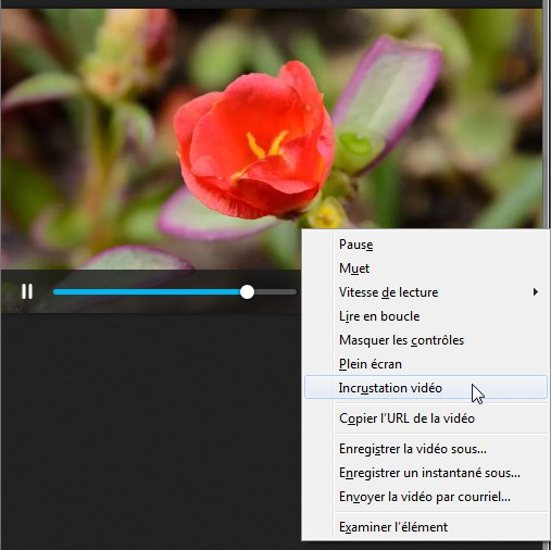 Menu contextuel par défaut qui apparaît sur un élément video avec l'item de menu Incrustation vidéo surligné.