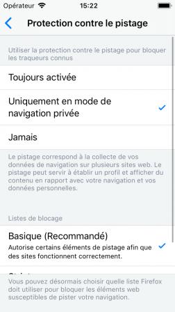 iPhone SE 04 Paramètres – Protection contre le pistage