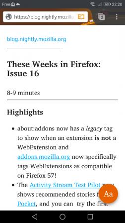 Firefox pour Android en mode lecture grâce à « Activate Reader Android »