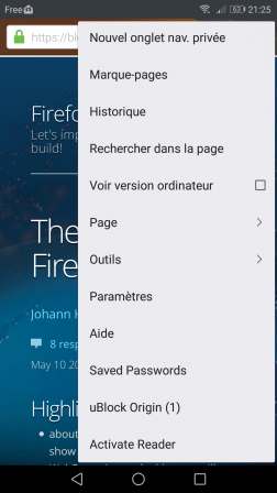 Firefox pour Android avec item de menu « Activate Reader Android »