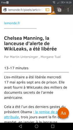 Firefox pour Android en mode lecture sur Le Monde
