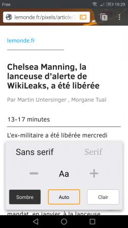 Firefox pour Android en mode lecture réglé sur Sans serif et Auto
