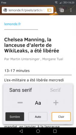 Firefox pour Android : mode lecture réglé sur Sans Serif et Clair