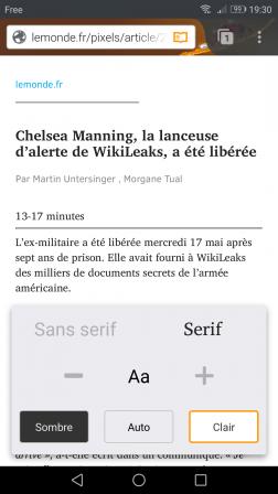 Firefox pour Android en mode lecture avec taille de police réduite et réglé sur Serif et Clair