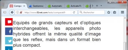 Firefox : article sans icône du mode lecture avec bouton d'Activate Reader View