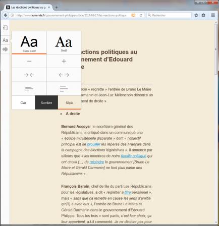 Firefox en mode lecture avec son panneau sur Le Monde