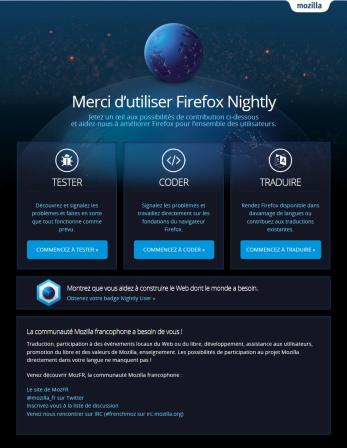 Page d'accueil de Firefox Nightly en français