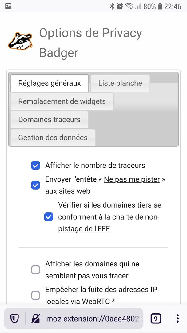 Firefox Preview Nightly 5.0 : Options de Privacy Badger
