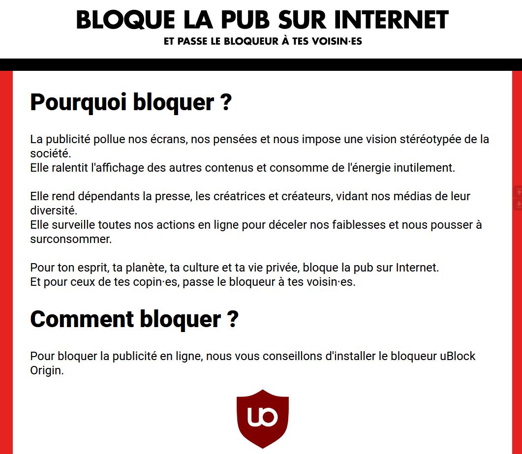 Bloque la pub sur Internet