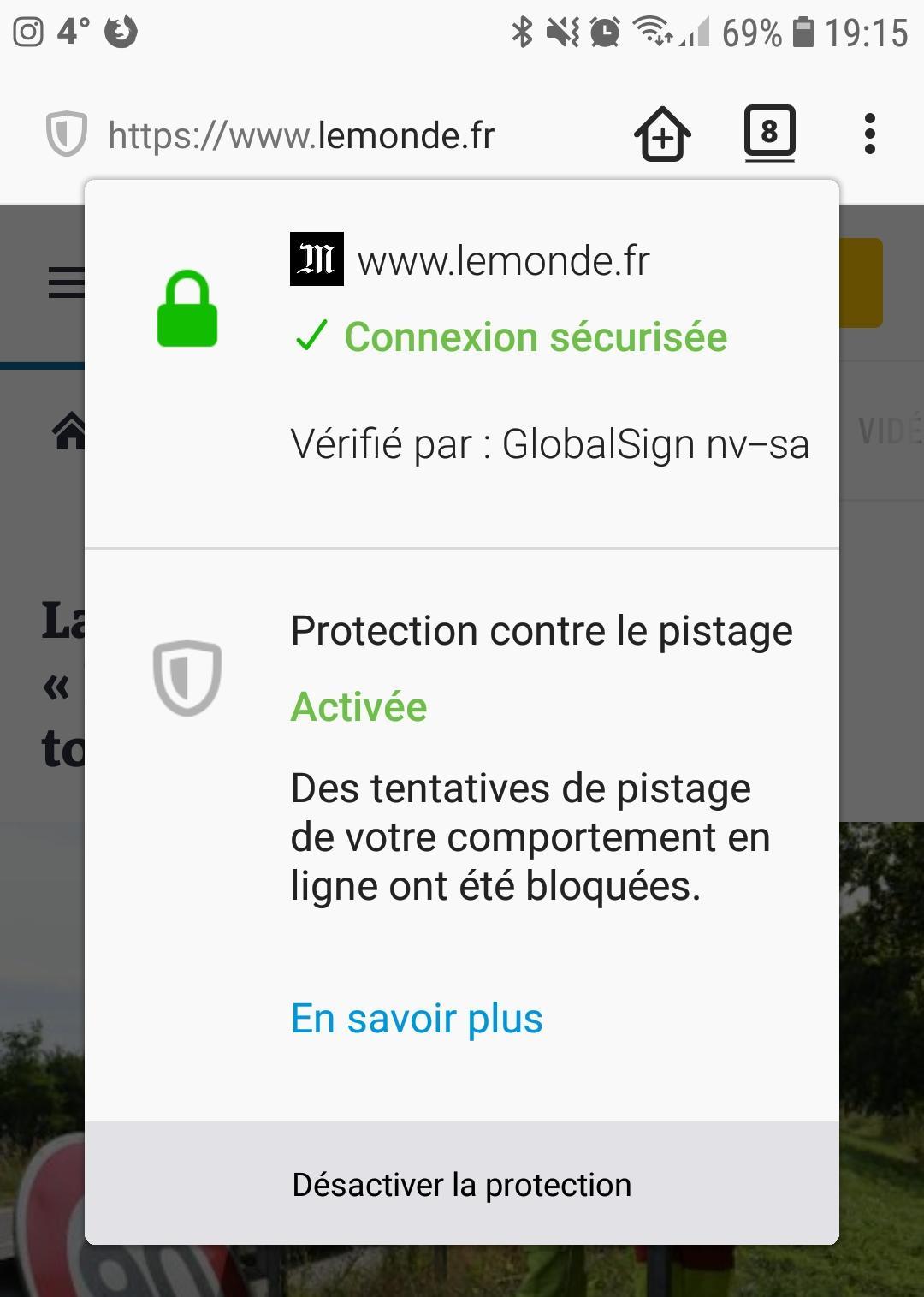 Firefox pour Android : centre de sécurité avec protection contre le pistage activée