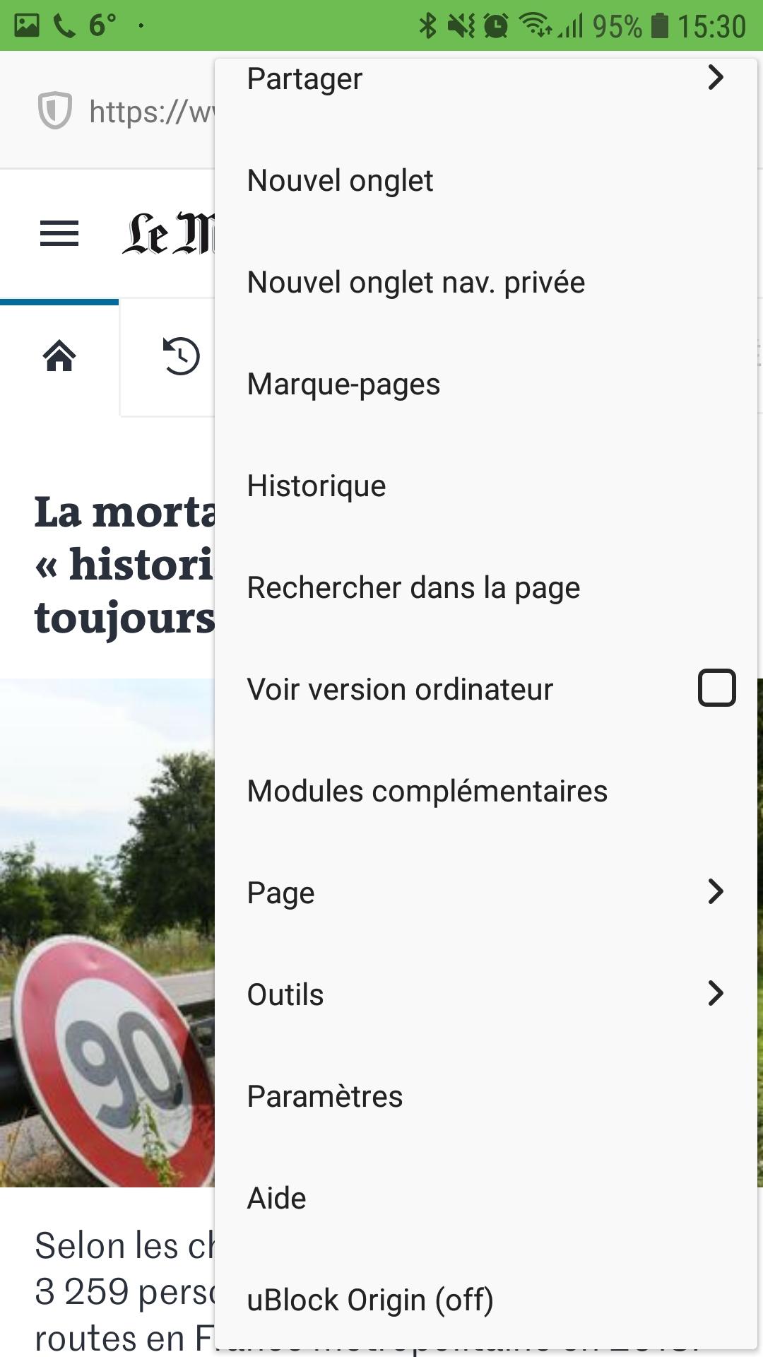 Firefox pour Andoid : menu avec uBlock Origin off