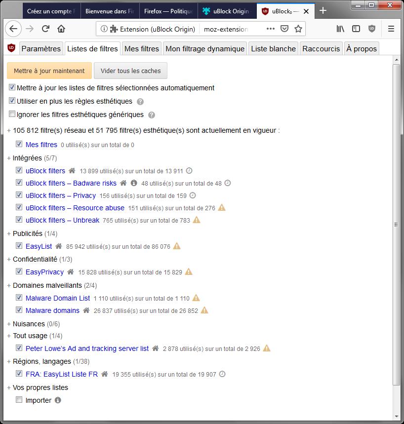 uBlock Origin : Tableau de bord > Liste des filtres