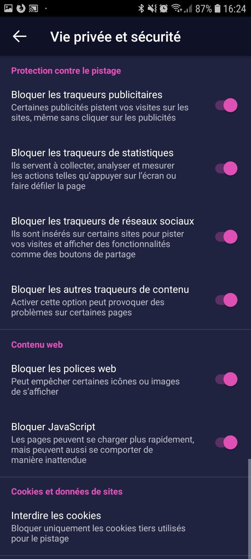 Paramètres Vie privée et sécurité de Firefox Docus pour Android