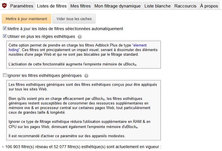 uBlock Origin : Tableau de bord > Paramètres