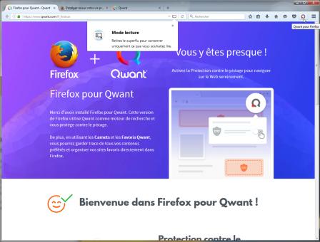 Firefox pour Qwant : 1er lancement