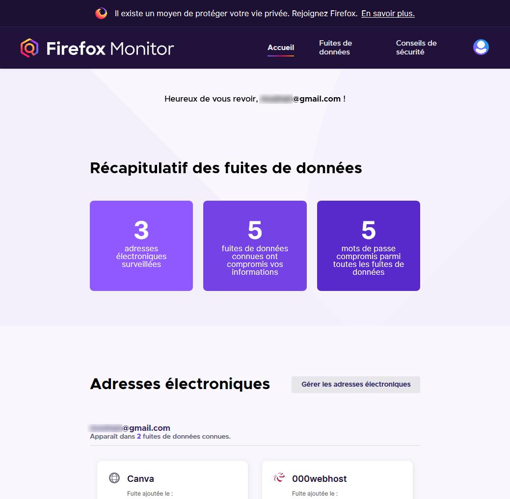 Firefox monitor : Vérifiez si vous êtes concernée par une fuite de données
