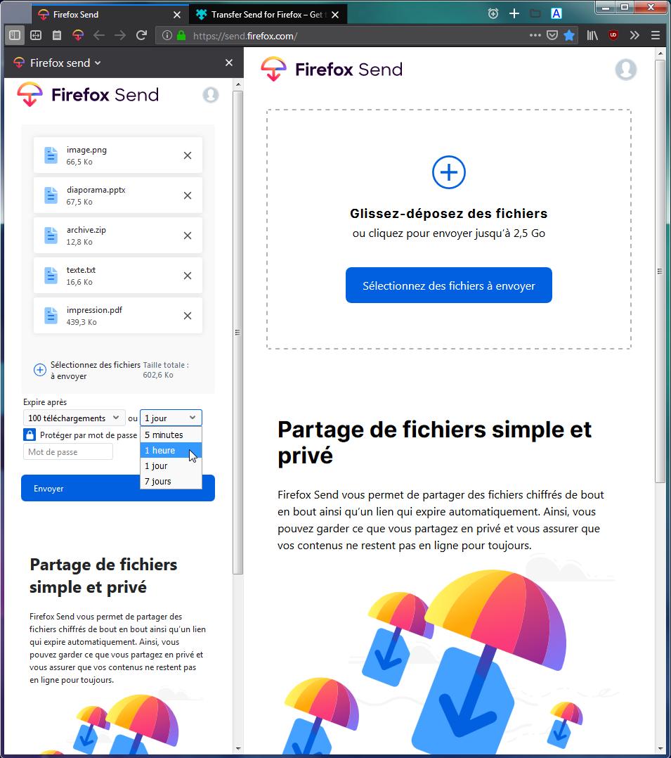 Firefox Send dans un onglet et Transfer Send for Firefox dans le panneau latéral