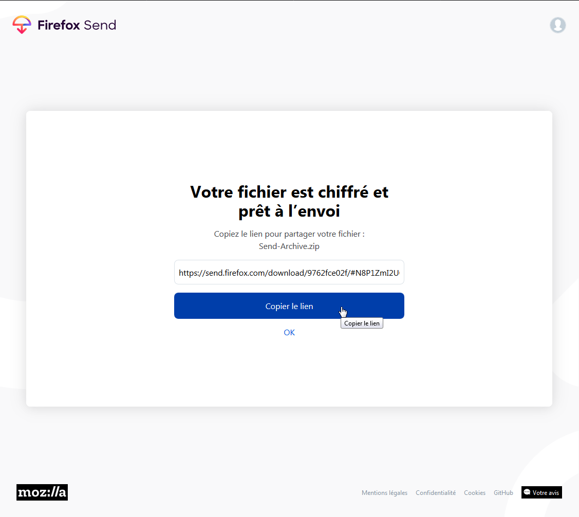 Firefox Send : fichiers et lien