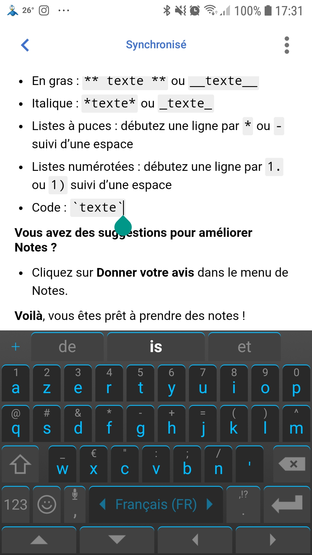 Firefox Test Pilot : note dans Android