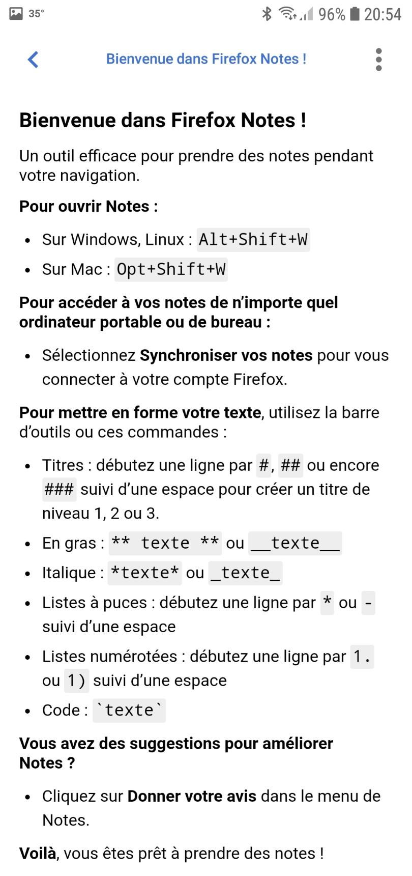 Firefox Test Pilot : note dans Android : Bienvenue dans Firefox Notes