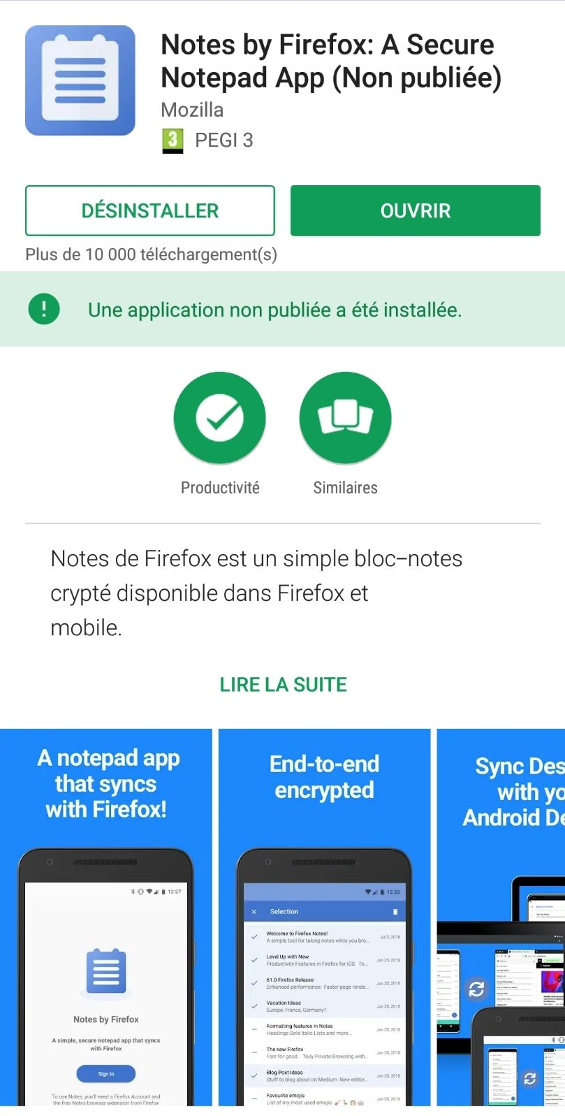 Firefox Test Pilot – Notes by Firefox dans le Google Play Store