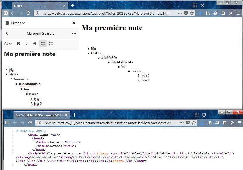 Firefox Test Pilot – Notes : exporter en HTML