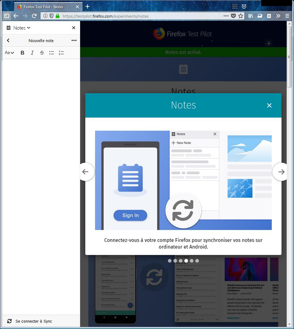 Firefox Test Pilot – Notes : tour 4 – synchronisation