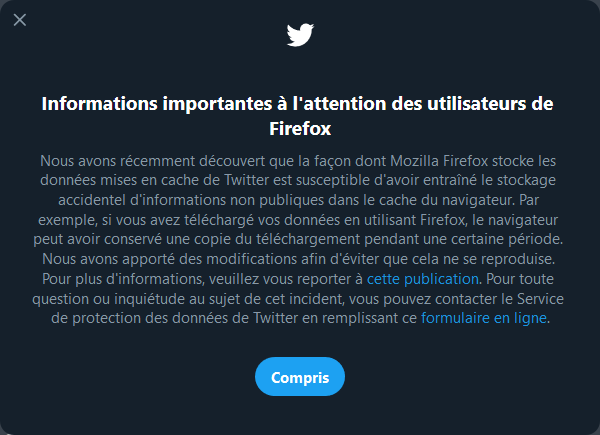 Message de Twitter : Informations importantes à l'intention des utilisateurs de Firefox