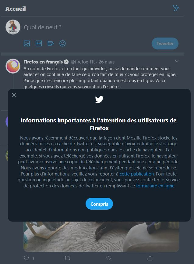 Twitter : Informations importantes à l'attention des utilisateurs de Firefox, publié le 2020-04-02