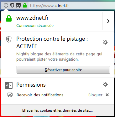 Firefox Nightly 63 : centre de vie privée