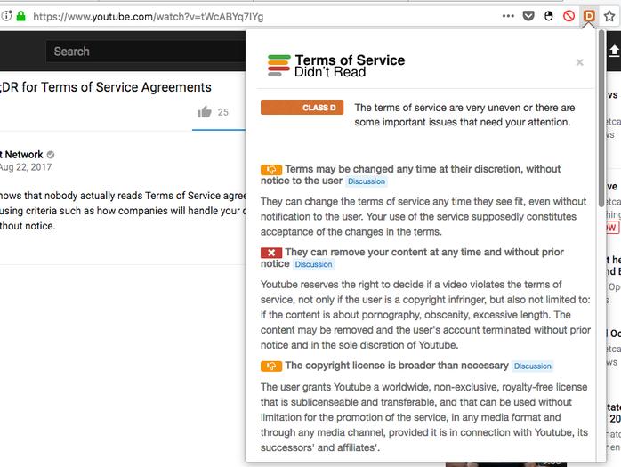 Extension pour Firefox ToS;DR