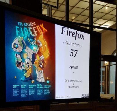 Écran de début de la présentation du sprint Firefox Quantum 57