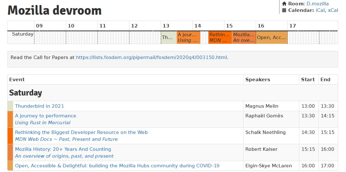 FOSDEM 2021 – planning – Mozilla devroom