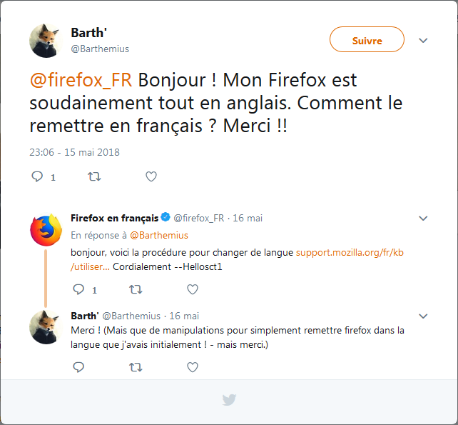 Question à @firefox_FR et réponse d'assistance