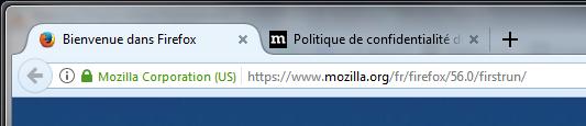 Les 2 onglets au 1er lancement de Firefox 56